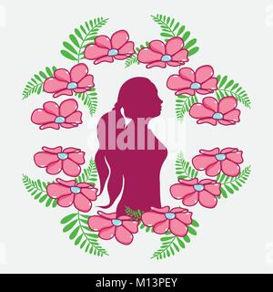womens day with flowers and woman silhouette - Stock Photo