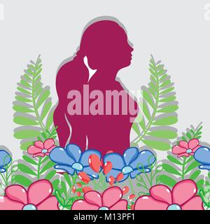 fucsia silhouette woman with flowers design - Stock Photo