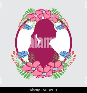 fucsia woman silhouette with flowers and leaves design - Stock Photo