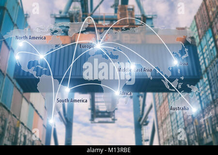 Network connection partnership logistics and world map with port in background.Network connection logistics technology concept (Elements of this image