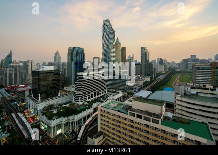 Modern building in Bangkok business district at Bangkok city with skyline before sunset, Thailand. - Stock Photo