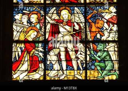 France, Manche, Cotentin Peninsula, Coutances, Notre Dame de Coutances cathedral dated 13th century, Stained glass - Stock Photo