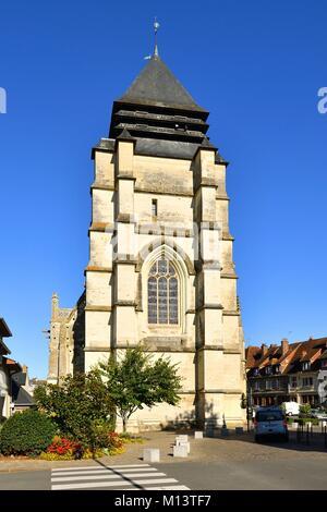 France, Calvados, Pays d'Auge, Pont l'Eveque, St Michel church - Stock Photo
