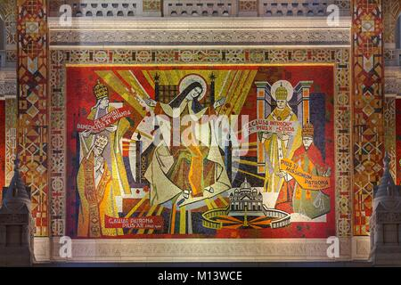 France, Calvados, Lisieux, St. Therese Basilica, Mosaic made in the workshops of Pierre Gaudin - Stock Photo