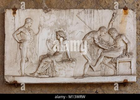 Italy, Campania, Herculanum, listed as World Heritage by UNESCO, bas relief - Stock Photo