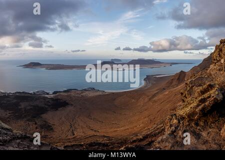 Spain, Canary Islands, Lanzarote Island, La Graciosa island view from el Rio mirador - Stock Photo