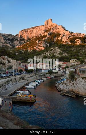 France, Bouches du Rhone, Marseille, National Park of the Calanques, Callelongue harbour - Stock Photo