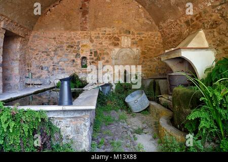 France, Var, Provence Verte, Barjols, washtub of the former Saint Joseph hospice - Stock Photo