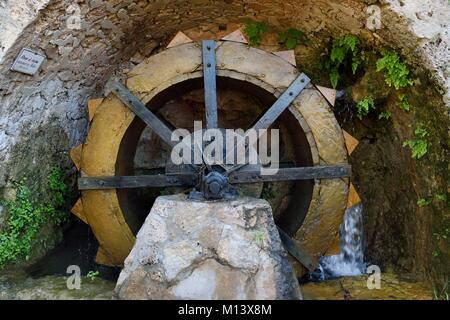 France, Var, Provence Verte, Barjols, old paddle wheel of a tannery of the 16th century - Stock Photo