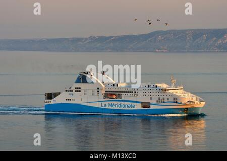 France, Bouches du Rhone, Marseille, La Meridionale ferry - Stock Photo