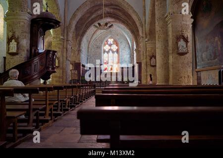 France, Var, Provence Verte, Barjols, Notre Dame de l'Assomption church - Stock Photo