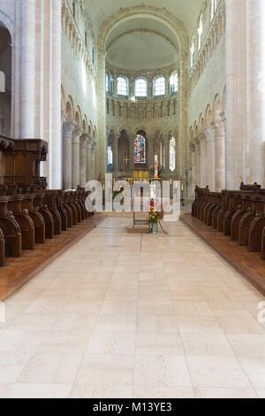 France, Loiret, Loire Valley listed as World Heritage by UNESCO, Saint Benoit sur Loire, Benedictine abbey of Saint - Stock Photo