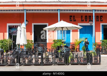 Cuba, province of Villa Clara, the colonial town of Remedios founded in the sixteenth century, Plaza Mayor, facade - Stock Photo