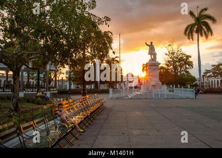 Cuba, Cienfuegos province, Cienfuegos, historical centre listed as World Heritage by UNESCO, José Martí square, - Stock Photo