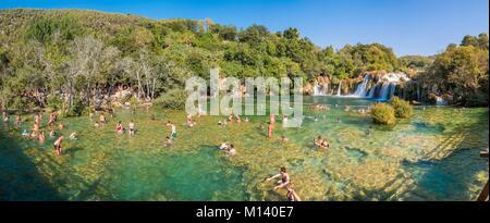 Croatia, North Dalmatia, Krka National Park, Krka River Falls at Skradinski Buk - Stock Photo