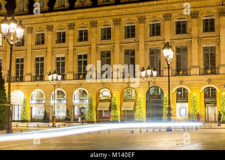 France, Paris, Place Vendome and Christmas lights - Stock Photo