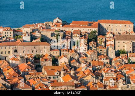 Croatia, Central Dalmatia, Dalmatian coast, Dubrovnik, Historic Centre listed as World Heritage by UNESCO - Stock Photo