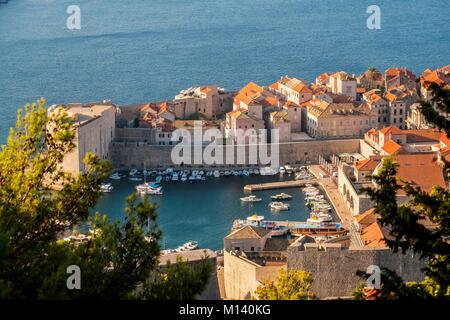 Croatia, Central Dalmatia, Dalmatian coast, Dubrovnik, Historic Centre listed as World Heritage by UNESCO, the Old - Stock Photo