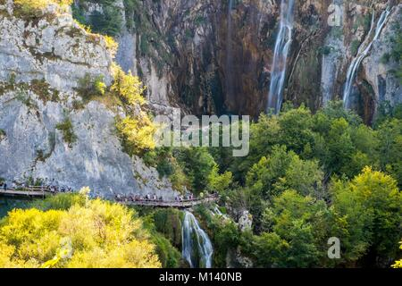 Croatia, North Dalmatia, Plitvice Lakes National Park listed as World Heritage by UNESCO, Lower lakes - Stock Photo
