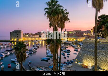 Croatia, Central Dalmatia, Dalmatian coast, Dubrovnik, Historic Centre listed as World Heritage by UNESCO, Old Port - Stock Photo