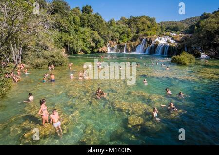 Croatia, North Dalmatia, Krka National Park, Krka River Falls at Skradinski Buk - Stock Photo