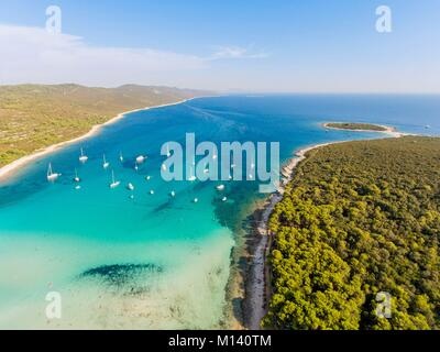Croatia, North Dalmatia, Dalmatian coast, Zadar archipelago, Dugi Otok island, Sakarun beach (aerial view) - Stock Photo