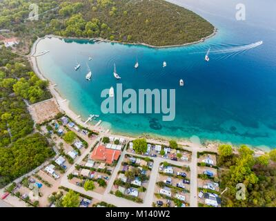 Croatia, North Dalmatia, Dalmatian coast, Zadar archipelago, Dugi Otok Island, camping Verunic (aerial view) - Stock Photo