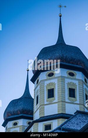 Austria, Tyrol, Stams, Stams Abbey, exterior, winter - Stock Photo