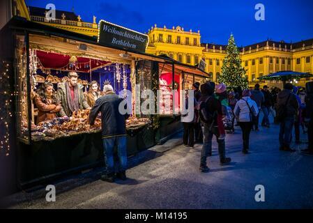 Austria, Vienna, Schonbrunn Palace, Christmas Market, evening - Stock Photo
