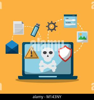 laptop spectre and meltdown malware attack - Stock Photo