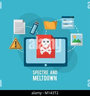 spectre and meltdown tablet computer danger vulnerability infection files information - Stock Photo