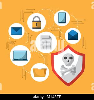 set of spectre and meltdown cyber crime virus digital protection attack icons - Stock Photo