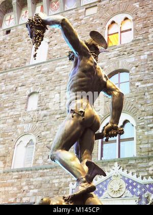 Palazzo Vecchio,Old Palace,Loggia dei Lanzi,at right outside Uffizi Gallery,Benvenuto Cellini´s statue Perseus With - Stock Photo