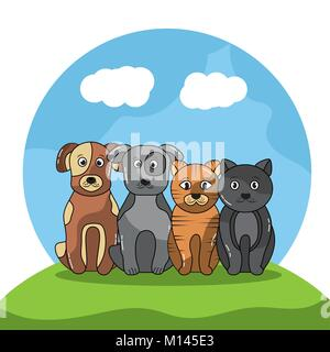 pet dogs and cats sitting with landscape image - Stock Photo