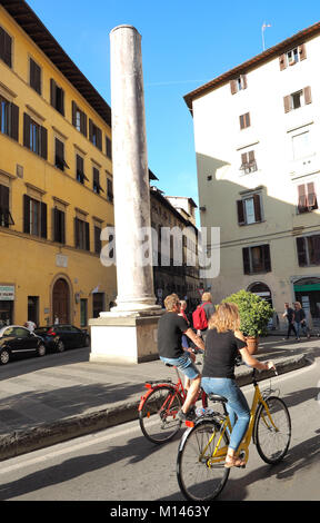 Europe,Italy,Tuscany,Florence,tourist visit old town by bicycles - Stock Photo