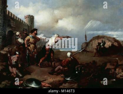 Spanish Eclecticism. Mariano Fortuny (1838-1874). Catalan painter. The Almogavars I, 1855. Training of almogavars - Stock Photo
