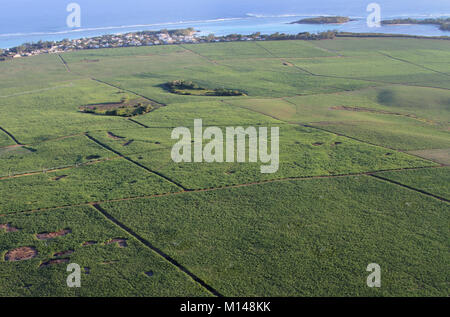Aerial view of agricultural fields on coast from a helicopter, The Republic of Mauritius. - Stock Photo