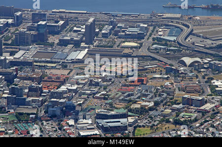 View of Cape Town Railway Station, Harbour, Nelson Mandela Blvd and F W De Klerk Blvd from top of Table Mountain, - Stock Photo