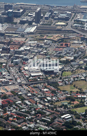 View of Cape Town Central, Railway Station, Harbour, Nelson Mandela Blvd and F W De Klerk Blvd from top of Table - Stock Photo