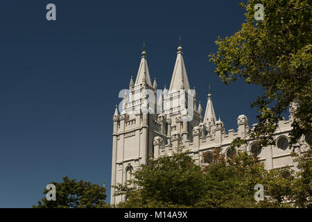 A detail of the Salt Lake Temple in Temple Square, Salt Lake City, Utah, USA, from the South visitors center.  Built - Stock Photo