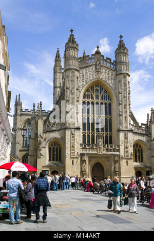 Bath, UK - 19th June 2011: Visitors sightseeing near Bath Abbey in summer sunshine in the City of Bath, Somerset, - Stock Photo