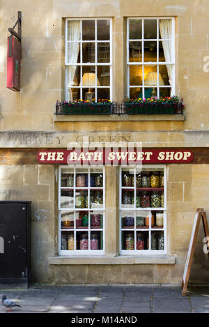 Bath, UK - 19th June 2011: Old fashioned jars of sweets in the windows of The Bath Sweet Shop in the City of Bath, - Stock Photo