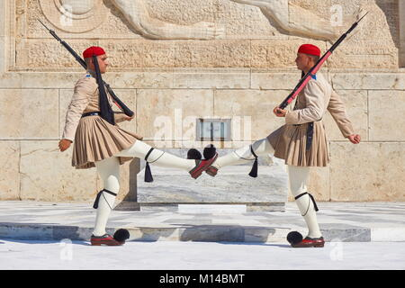 Athens - Evzones changing the guard at the Tomb of the Unknown Soldier, Greece - Stock Photo