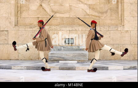 Ceremony of changing the guard, Athens, Greece - Stock Photo