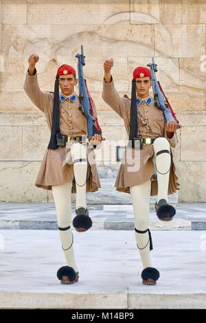 Evzones changing the guard, Athens, Greece - Stock Photo