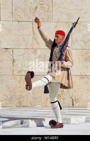 Ceremony of changing Evzones guard (presidential guards), Athens, Greece - Stock Photo