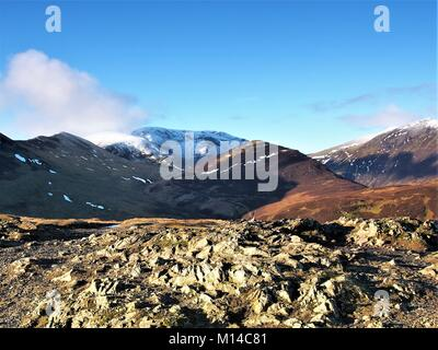 Snow capped Lakeland Fells from Barrow summit, Lake District National Park, Cumbria, United Kingdom - Stock Photo