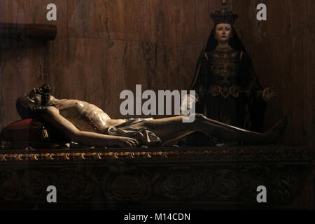 Glass display of a La Pieta-Virgin Mary grieving over Jesus's dead body, Amalfi Cathedral, Amalfi, Italy. - Stock Photo