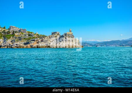 Doria Castle at Portovenere Italy on the Ligurian Sea at the entrance to the Gulf of Poets in La Spezia Bay, Italy - Stock Photo