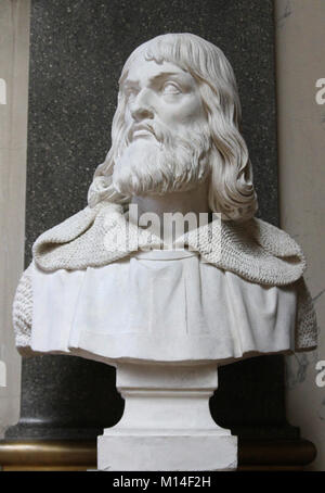 Marble bust of Simon de Montfort IV, by Jean-Jacques Feuchere in the Gallery of Battles, Versailles Palace, Ile - Stock Photo